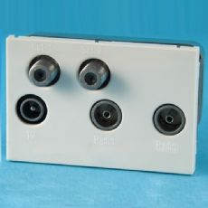 Varilight White 5 Outlet Module Sat x 2/TV/Screened Return/FM (+DAB) (Use with Datagrid Plates)
